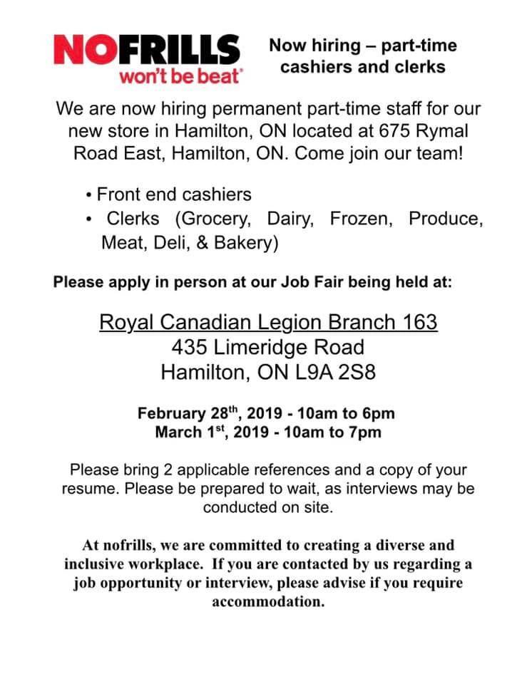 February 2019 Job Fair No Frills Employment Hamilton